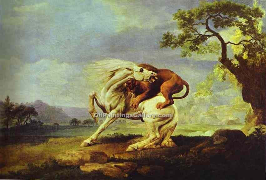 """Horse Attacked by a Lion"" by  George Stubbs"