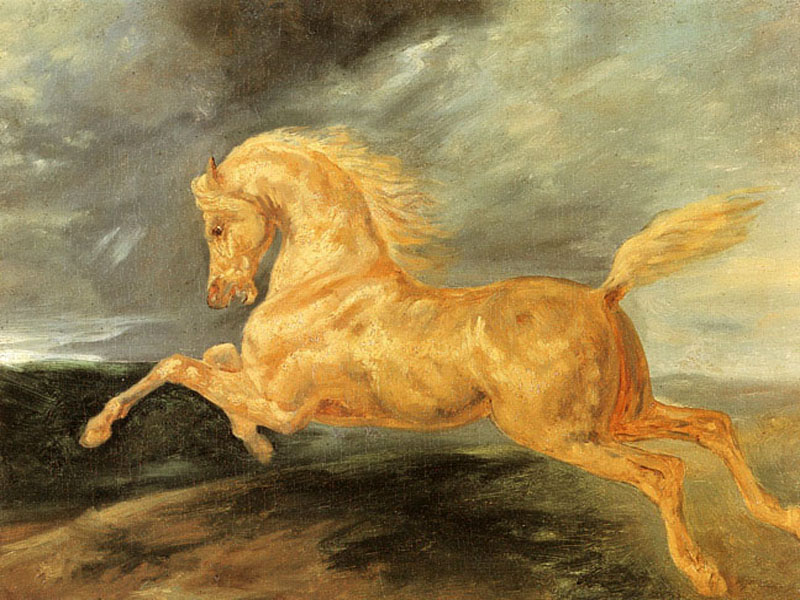 """Horse Frightened by Lightning"" by  Theodore Gericault"