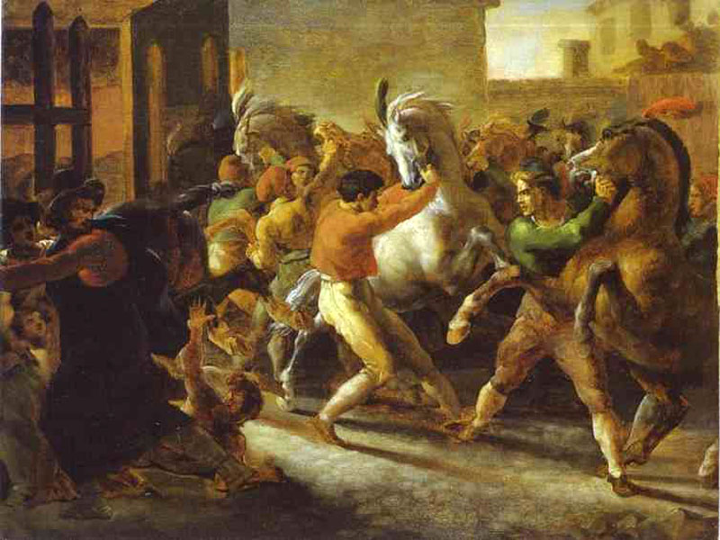 """Horse Races in Rome"" by  Theodore Gericault"
