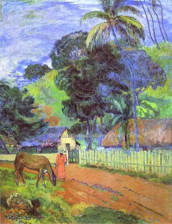 """Horse on Road Tahitian Landscape"" by  Paul Gauguin"