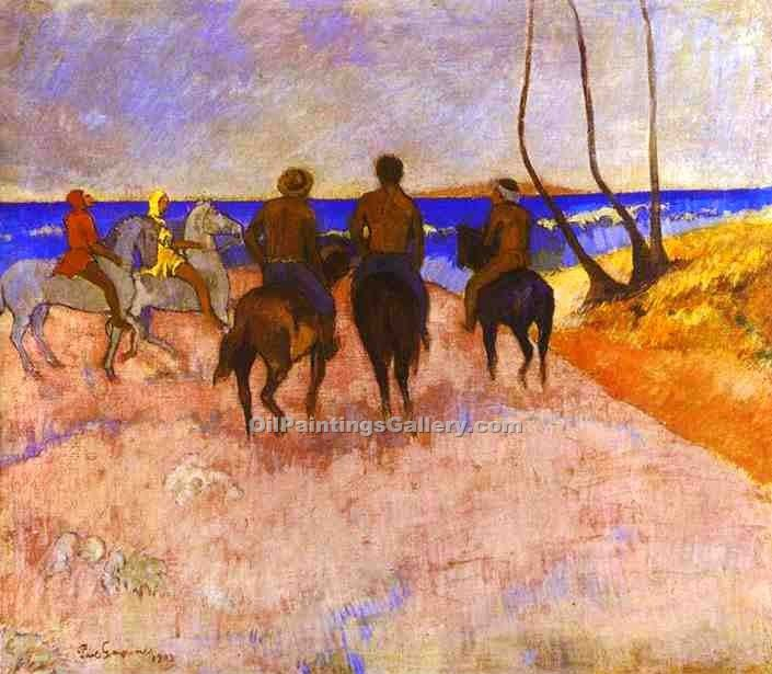 """Horsemen on the Beach 32"" by  Paul Gauguin"