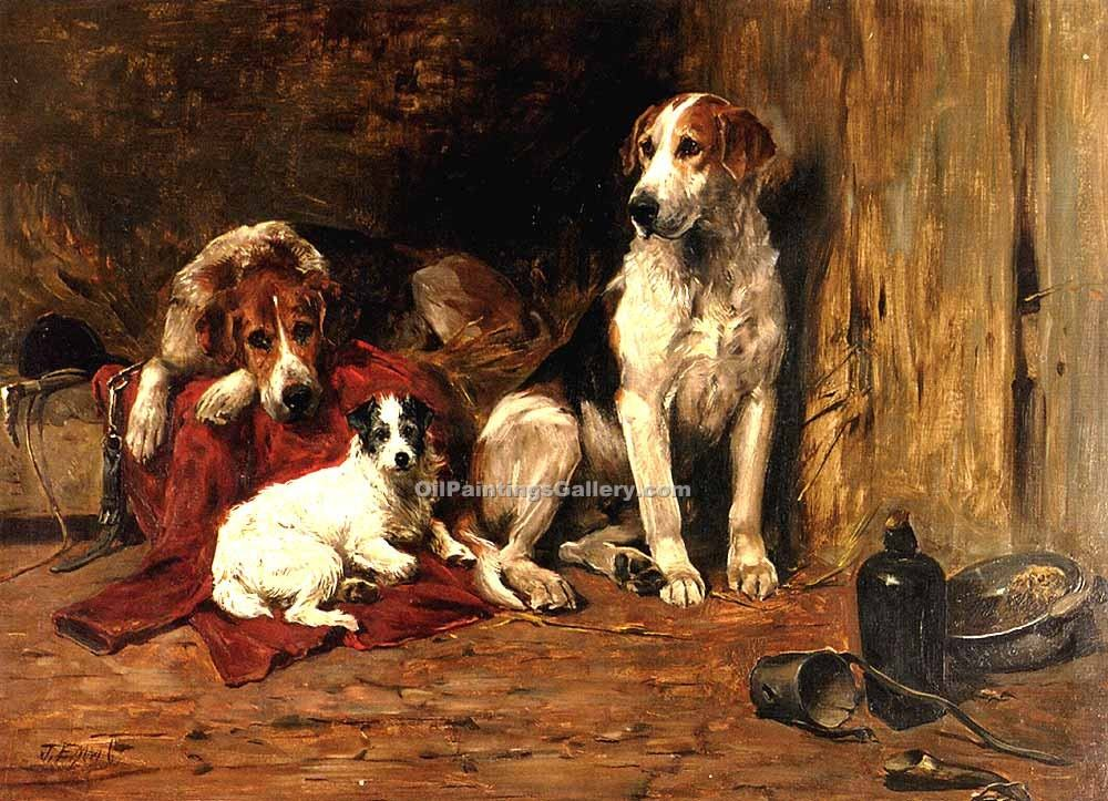"""Hounds and a Jack Russell In a Stable"" by  John Emms"