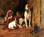 Hounds and a Jack Russell In a Stable by  John Emms (Painting ID: AN-0369-KA)