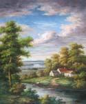 House by the Creek 52 Oil Painting (ID: LA-5952-B)
