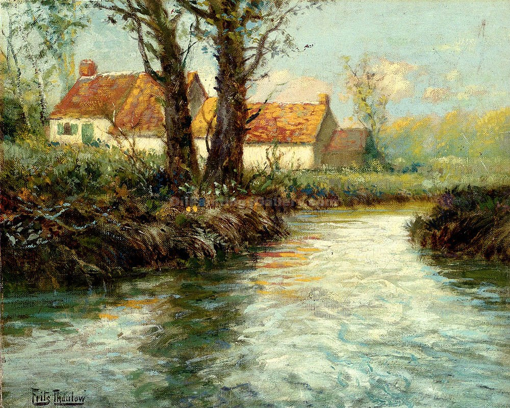 """House by the Waters Edge"" by  Fritz Thaulow"