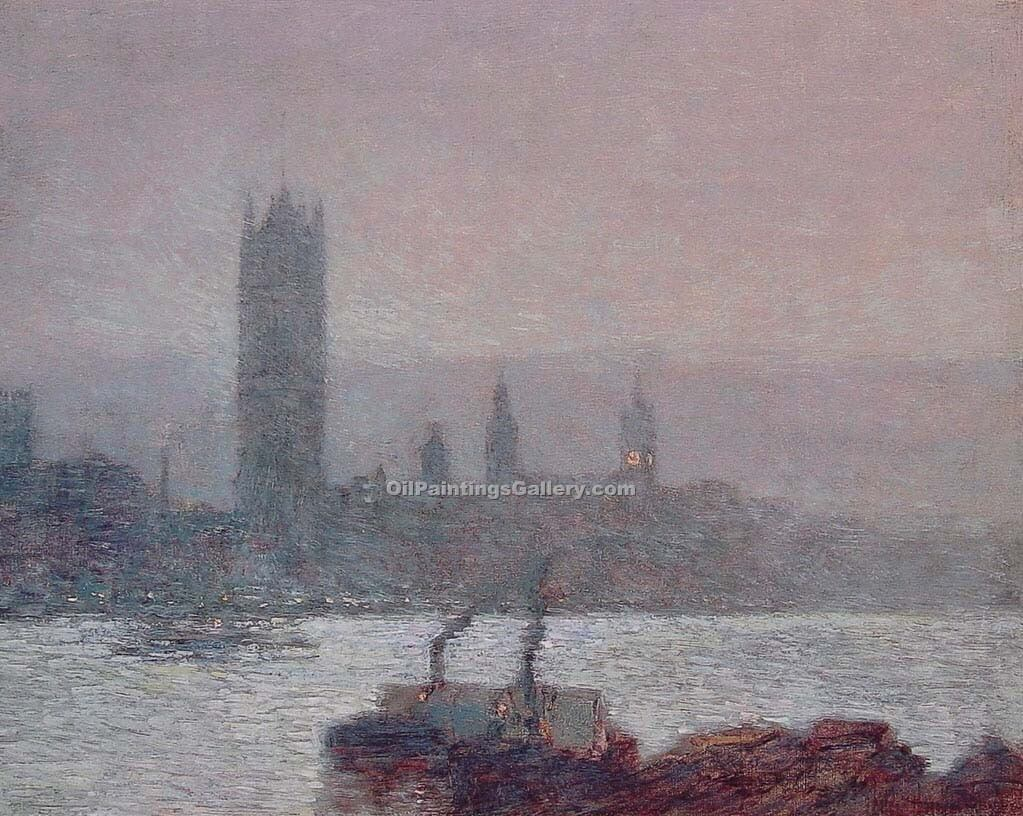 """Houses of Parliament Early Evening"" by  Frederick Childe Hassam"