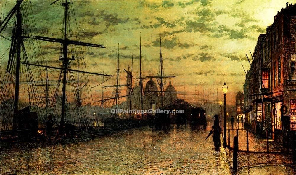 Humber Docks, Hull by Grimshaw John Atkinson | Watercolor Painting Gallery - Oil Paintings Gallery