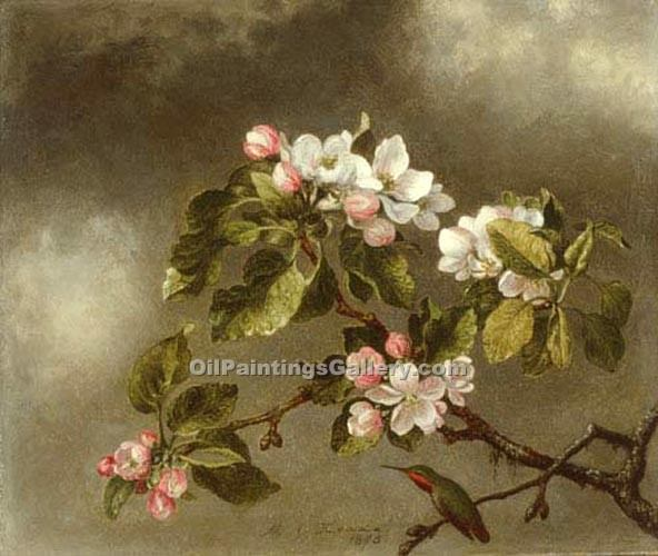 """Hummingbird and Apple Blossoms"" by  Martin Johnson Heade"