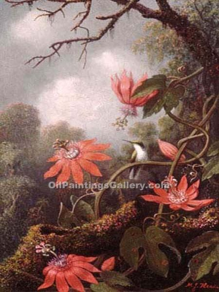 """Hummingbird and Passionflowers"" by  Martin Johnson Heade"
