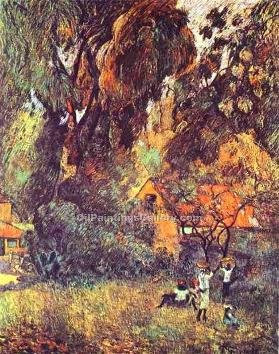 """Huts under Trees"" by  Paul Gauguin"