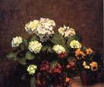 Hydrangias Cloves and Two Pots of Pansies by  Henri Fantin Latour (Painting ID: SL-0165-KA)