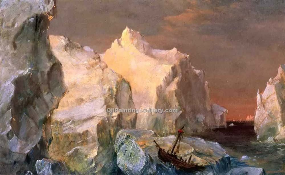 Icebergs and Wreck in Sunset by Frederic Edwin Church | Artist Painting - Oil Paintings Gallery