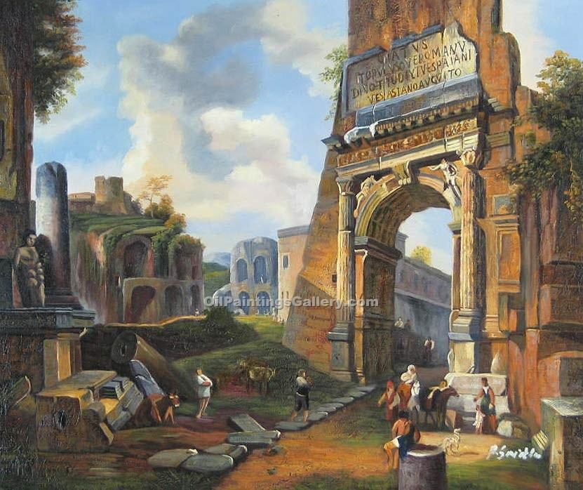 """Ideal Landscape with the Titus Arch"" by  Giovanni Paolo Pannini"
