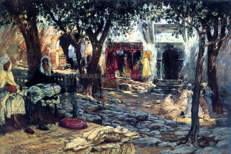 """Idle Moments in an Arab Courtyard"" by  Frederick Arthur Bridgman"