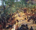 Ilex Wood at Majorca with Blue Pigs by  John Singer Sargent (Painting ID: EI-0430-KA)