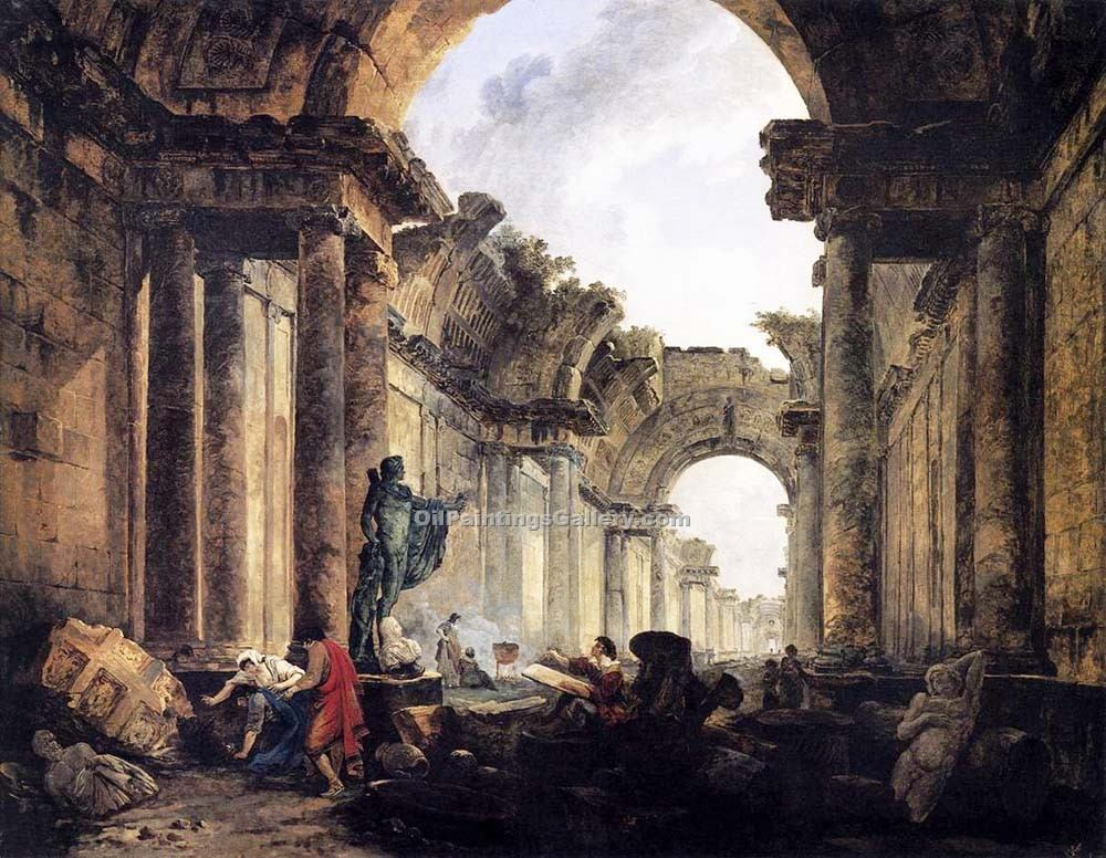 """Imaginary View of the Grande Galerie"" by  Hubert Robert"