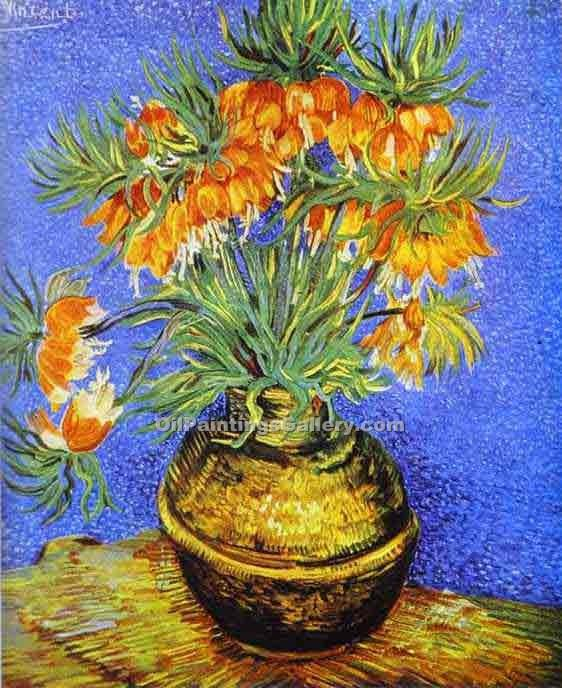 """Imperial Crown Fritillaria in a Copper Vase"" by  Vincent Van Gogh"