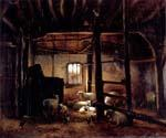 In The Stable by  Eugene Joseph Verboeckhoven (Painting ID: AN-2120-KA)