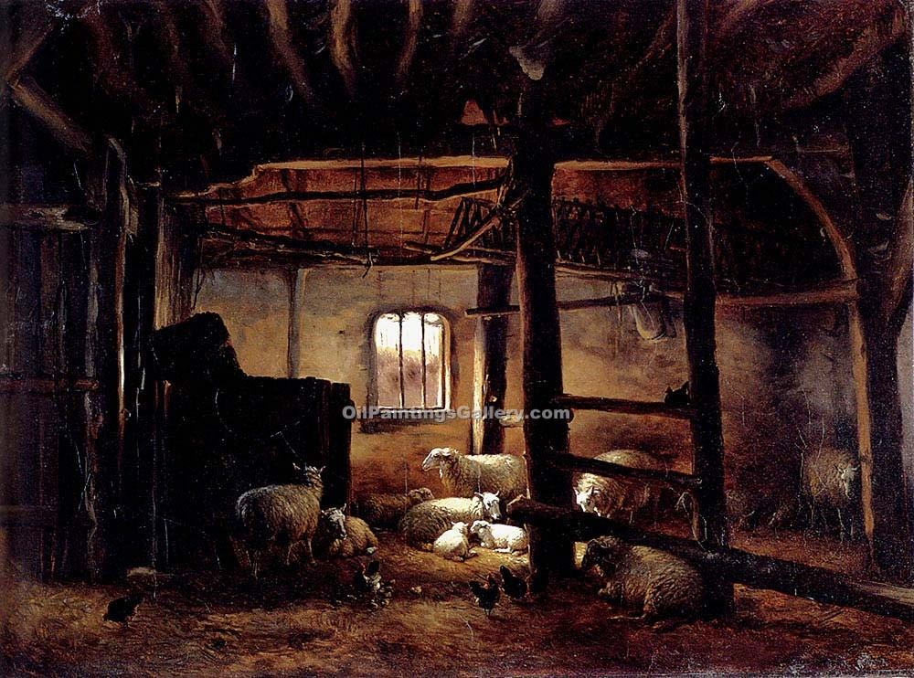 """In The Stable"" by  Eugene Joseph Verboeckhoven"