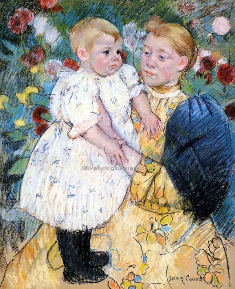 In the Garden by Cassatt Mary | Abstract Acrylic Paintings - Oil Paintings Gallery