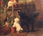 In the Greenhouse by  Henriette Ronner Knip (Painting ID: AN-1114-KA)