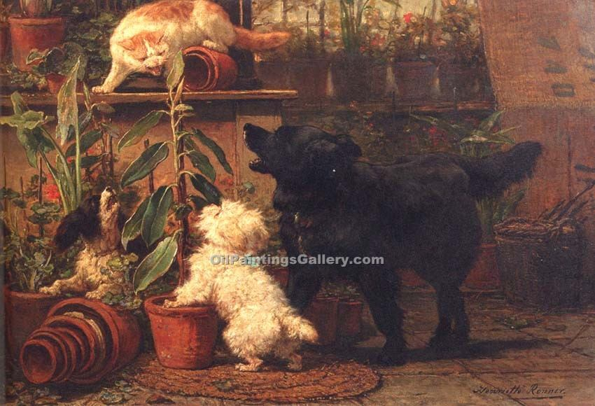 """In the Greenhouse"" by  Henriette Ronner Knip"
