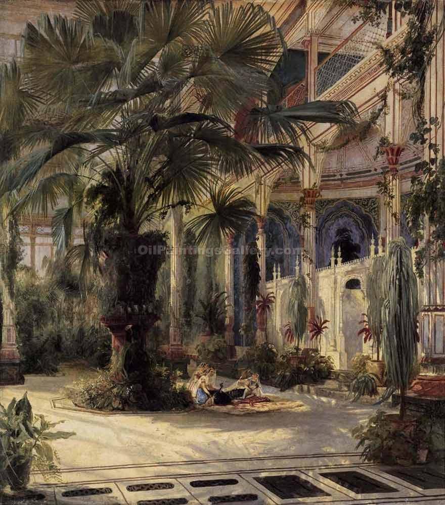 """In the Palm House in Potsdam"" by  Karl Blechen"