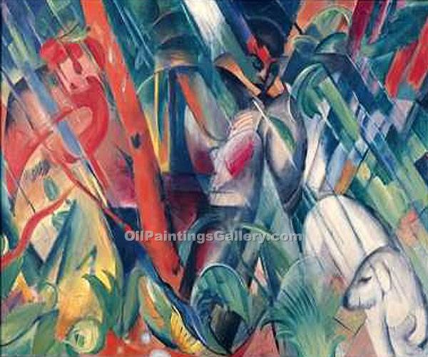 In the Rain by Franz Marc | Oil Paintings Website - Oil Paintings Gallery