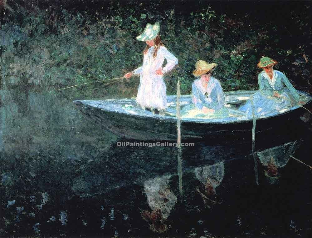 """In the Rowing Boat"" by  Claude Monet"