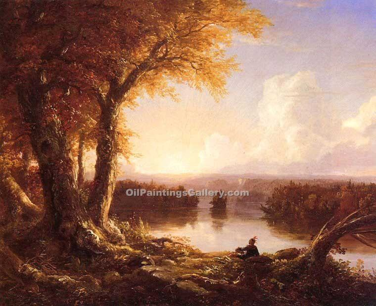 """Indian at Sunset"" by  Thomas Cole"