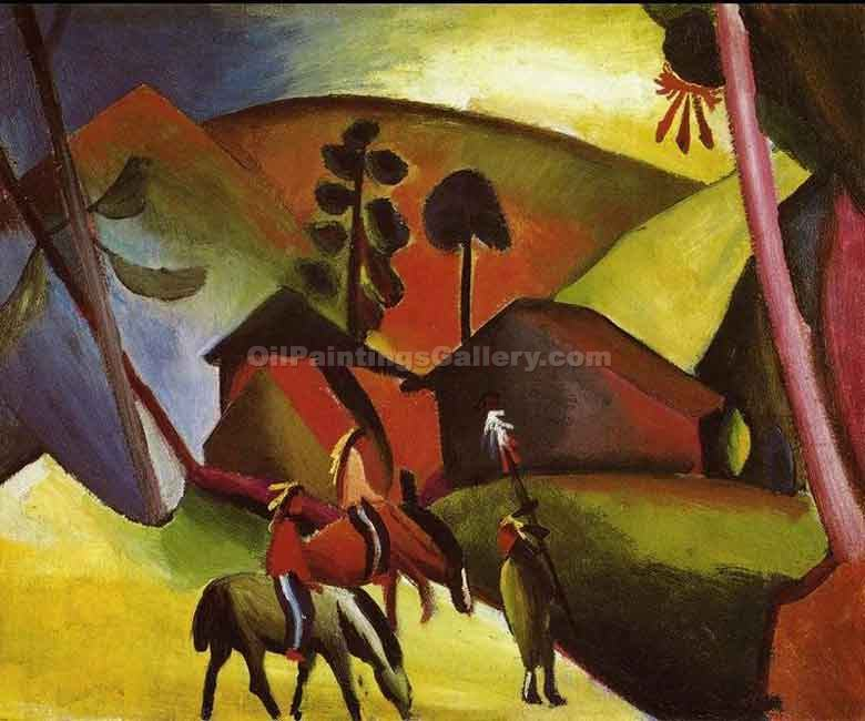 """Indians on Horseback"" by  August Macke"