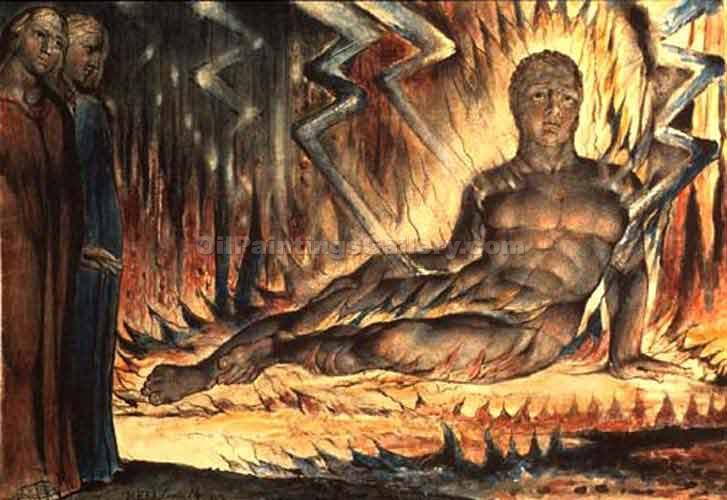 Inferno, Canto XIV by William Blake | Best Online Art Gallery - Oil Paintings Gallery