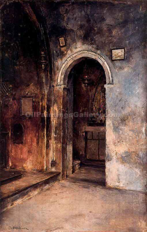 Interior de la Iglesia del Convento de las c Rceles by Gil Jose Benlliurey | Hand Painted Oil Paintings - Oil Paintings Gallery