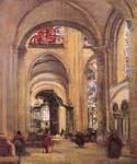 Interior of Sens Cathedra by  Jean Baptiste Corot (Painting ID: CO-0864-KA)