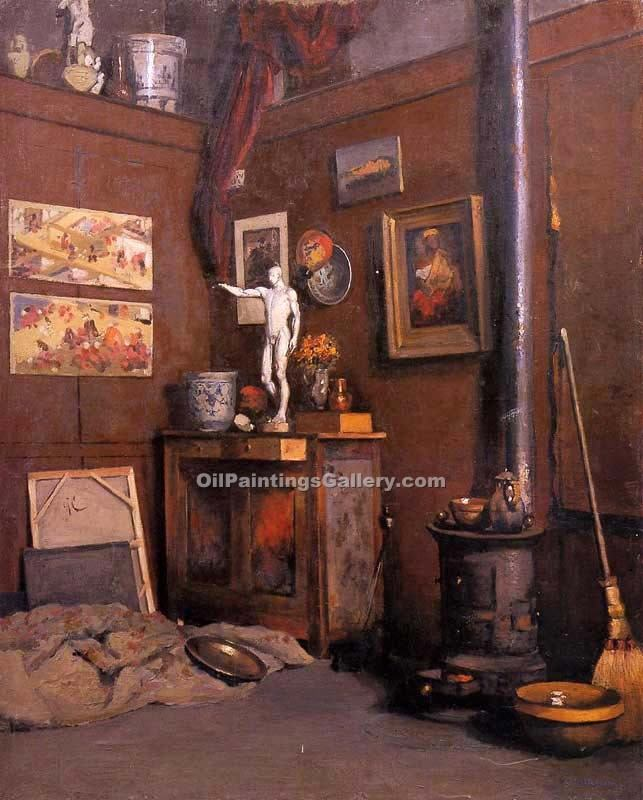 """Interior of a Studio with Stove"" by  Gustave Caillebotte"