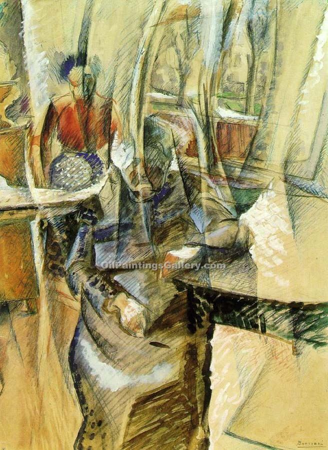 """Interior with Female Figuers"" by  Umberto Boccioni"