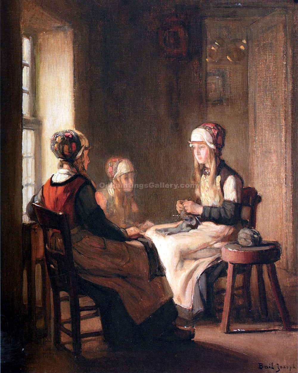 Interior with Marken Girls Knitting by Claude JosephBail | Abstract Oil Paintings - Oil Paintings Gallery