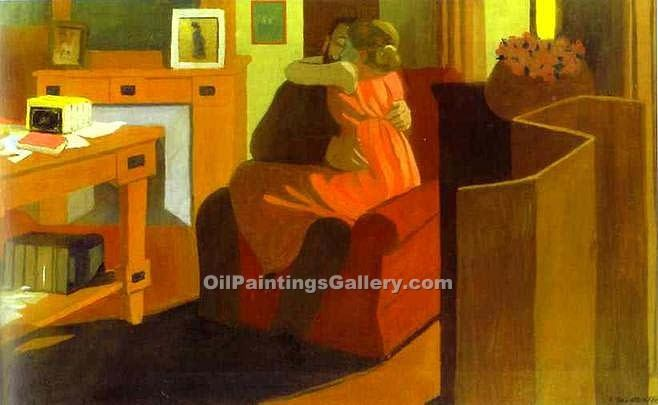 Intimacy Couple in Interior by Felix Vallotton | Contemporary Art Paintings - Oil Paintings Gallery