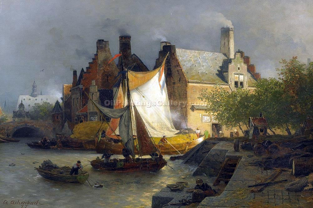 """Investing on Boats in a Dutch Port"" by  Andreas Achenbach"