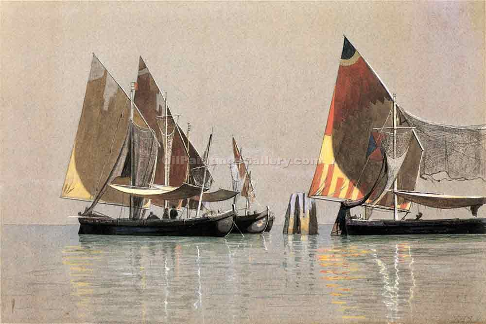 Italian Boats, Venice by William Stanley Haseltine | Best Place To Buy Paintings Online - Oil Paintings Gallery