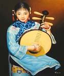 Japanese Girl Playing  (Painting ID: EI-1011-KA)