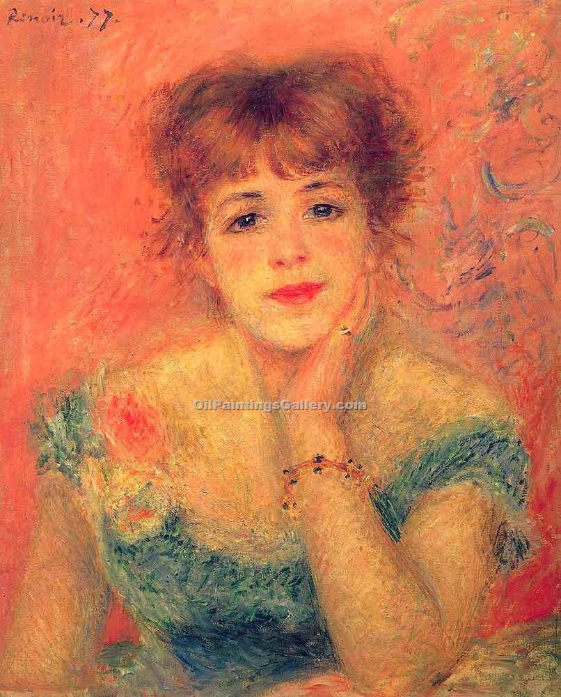 """Jeanne Samary in a Low Necked Dress"" by  Pierre Auguste Renoir"