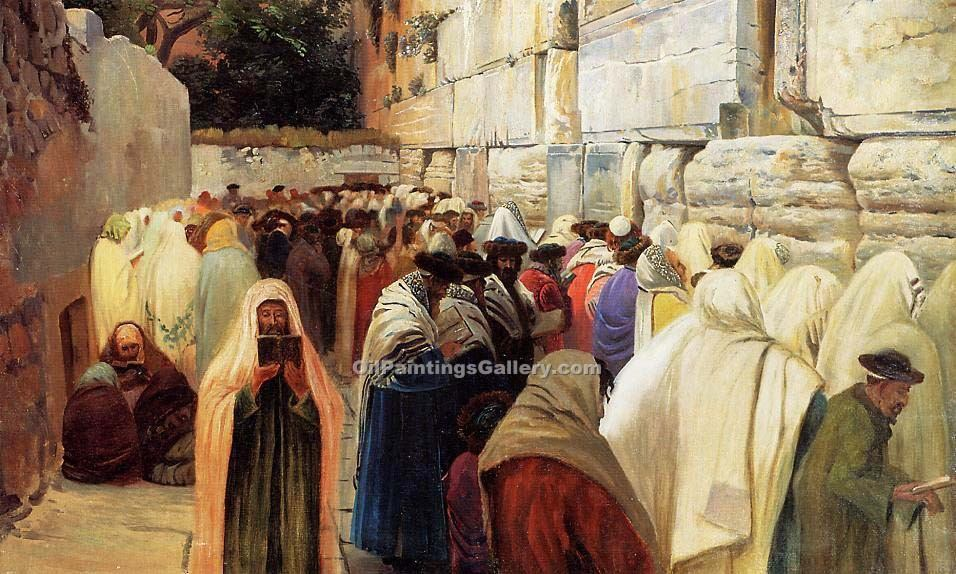 """Jews at the Wailing Wall"" by  Gustav Bauernfeind"