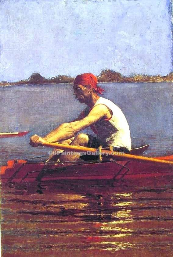 """John Biglin in A single Scull"" by  Thomas Eakins"