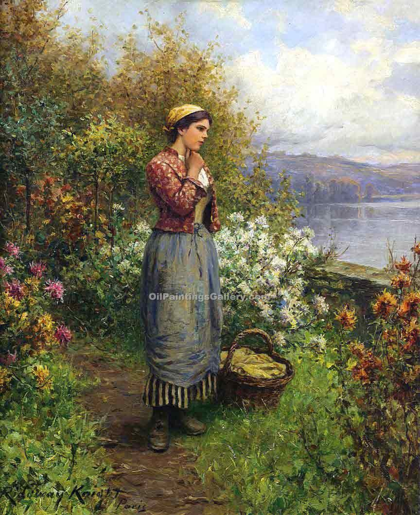 Julia on the Terrace by Daniel RidgwayKnight | Family Portraits - Oil Paintings Gallery