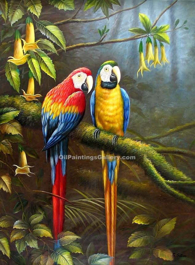 jungle parrots 69 painting id an 1069 ka. Black Bedroom Furniture Sets. Home Design Ideas