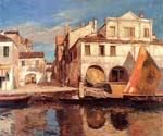 Kanalszene in Chioggia Mit Bragozzo by  Gustav Bauernfeind (Painting ID: HO-1024-KA)