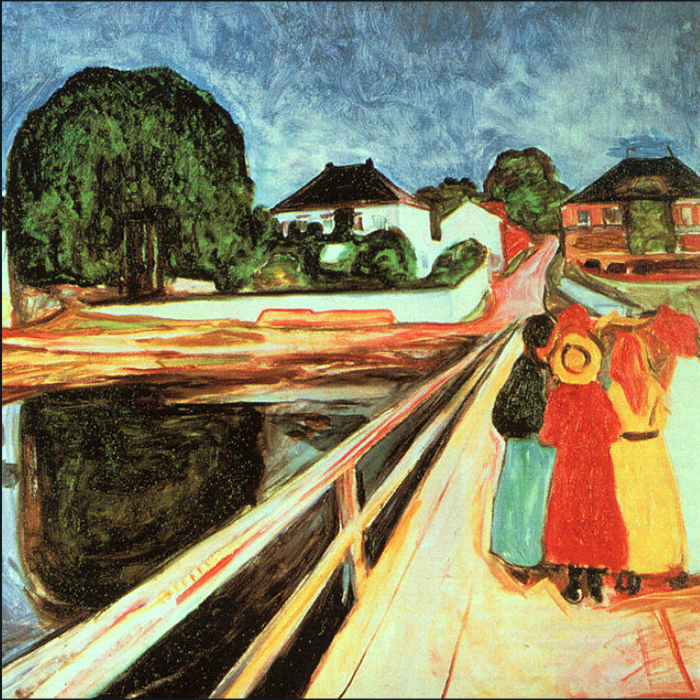 The-Girls on Bridge 1899 by Edvard Munch | Famous Artists Reproductions - Oil Paintings Gallery