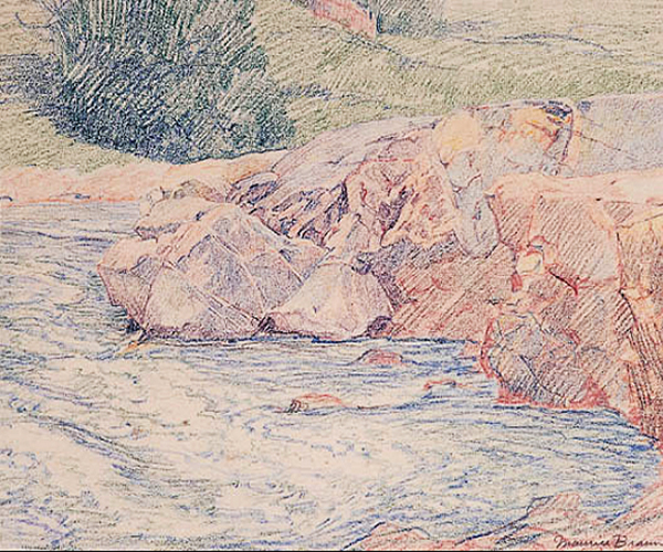 Rocks in a Stream by Maurice Braun | Impressionism Paintings - Oil Paintings Gallery