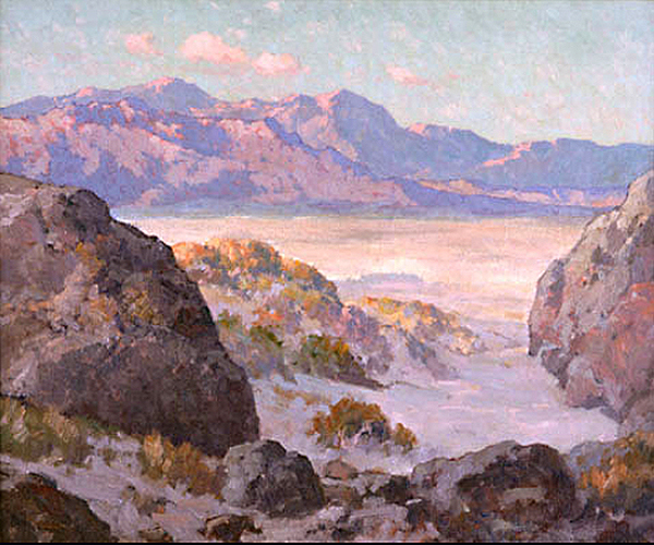 Desert and Mountains by Maurice Braun | Landscape Paintings - Oil Paintings Gallery